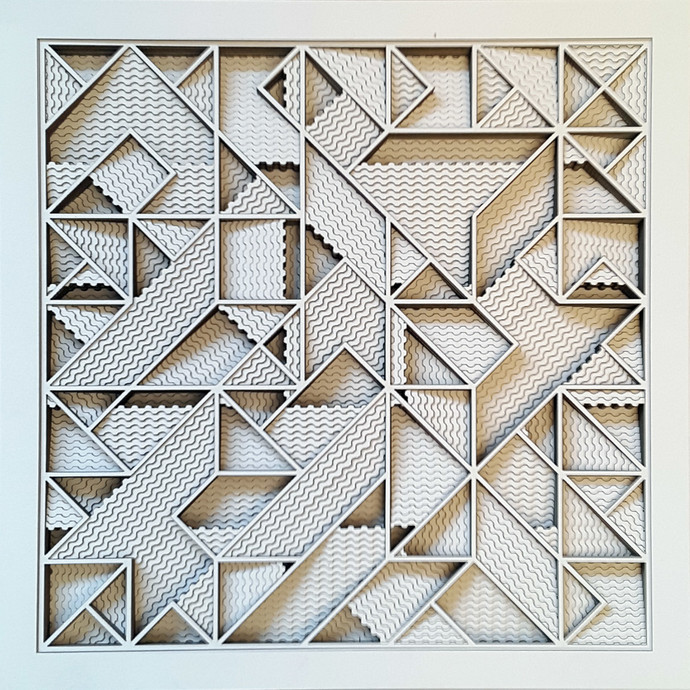 Construction 040A, PAPER CUT RELIEF SCULPTURE by S. Ravi Shankar, Abstract Sculpture | 3D, Formed Paper, Gray color