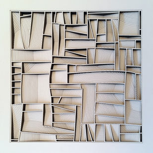 Construction 042A, PAPER CUT RELIEF SCULPTURE by S. Ravi Shankar, Abstract Sculpture | 3D, Formed Paper, Gray color