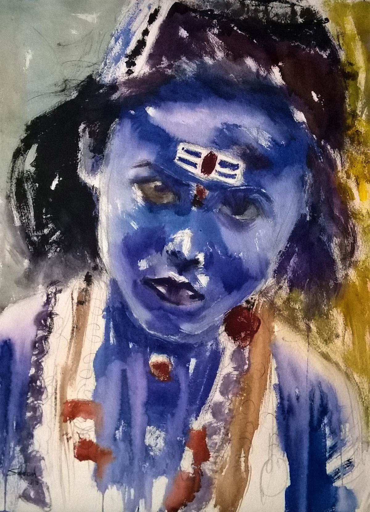 little shiva by Santosh Keshari , Impressionism Painting, Watercolor on Paper, Blue color
