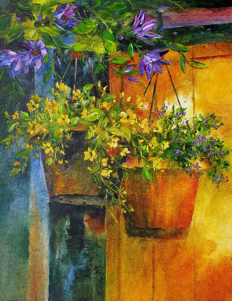 Hanging Flowers by Swati Kale, Impressionism Painting, Oil on Canvas, Green color