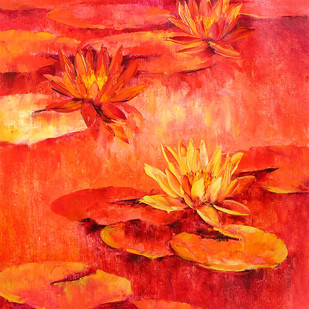 Waterlilies - 51 by Swati Kale, Expressionism Painting, Oil on Canvas, Red color