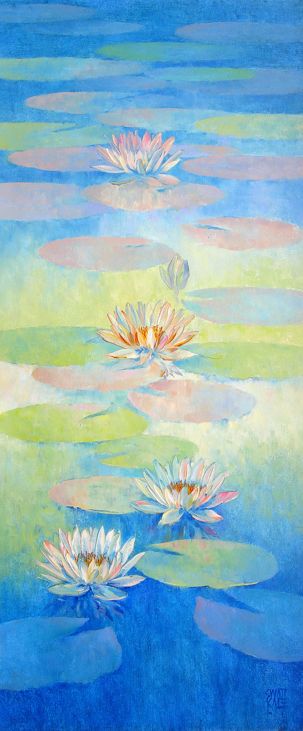 Waterlilies - 69 by Swati Kale, Realism Painting, Oil on Canvas, Cyan color