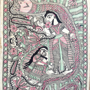 Vishnu With His Consort Lakshmi by Heera Devi, Folk Painting, Water Based Medium on Paper, Gray color