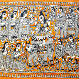 Shiva's Baraat by Heera Devi, Folk Painting, Water Based Medium on Paper, Brown color