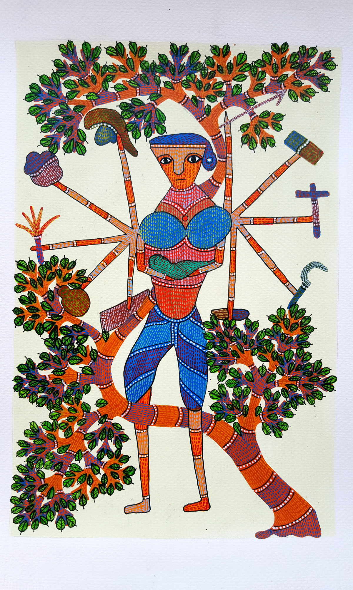 A Woman Can Do Anything by Suresh Kumar Dhurve, Folk Painting, Acrylic on Paper, Brown color