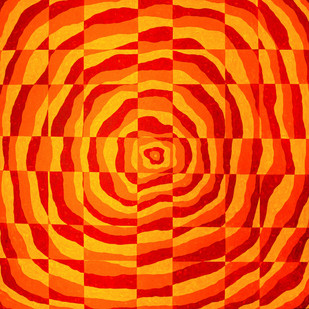 Impulse I by Srushti Rao, Op Art Painting, Acrylic on Canvas, Orange color