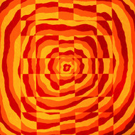 Impulse II by Srushti Rao, Op Art Painting, Acrylic on Canvas, Orange color
