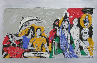 Yeh kaun sa modh hai umar ka - I by M F Husain, Expressionism Printmaking, Serigraph on Paper, Gray color