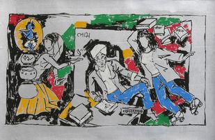 Yeh kaun sa modh hai umar ka - II by M F Husain, Expressionism Printmaking, Serigraph on Paper, Gray color