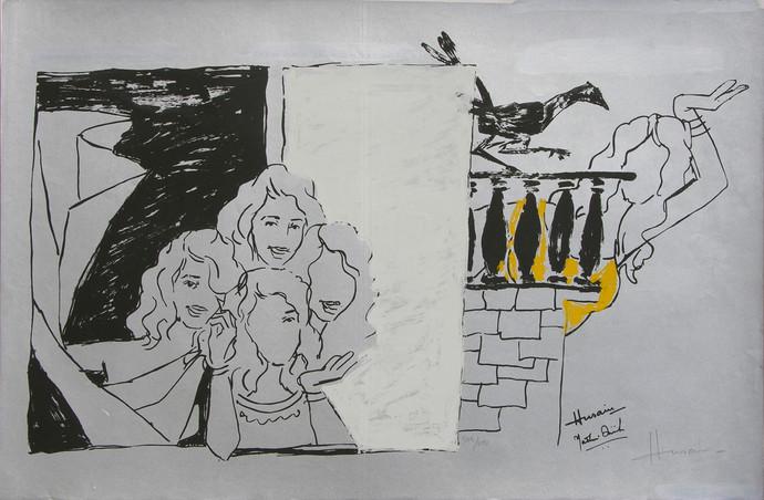 Yeh kaun sa modh hai umar ka - III by M F Husain, Expressionism Printmaking, Serigraph on Paper, Gray color