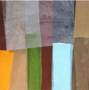 Sheltered Colours by Yogesh Rawal, Abstract Painting, Mixed Media on Wood, Brown color