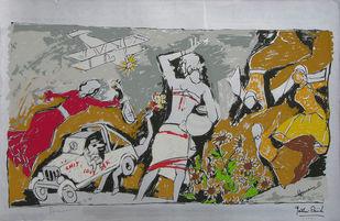Yeh kaun sa modh hai umar ka - IV by M F Husain, Expressionism Printmaking, Serigraph on Paper, Gray color