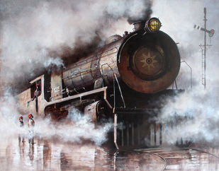 Indian Steam Locomotives 20 by Kishore Pratim Biswas, Realism Painting, Acrylic on Canvas, Gray color