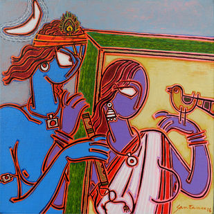 Ina frame 2 by Santanu Nandan Dinda, Traditional Painting, Acrylic on Canvas, Brown color