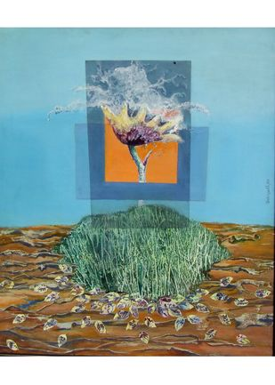 Flower Vase by Debajyoti Sarkar, Surrealism Painting, Acrylic on Canvas, Cyan color