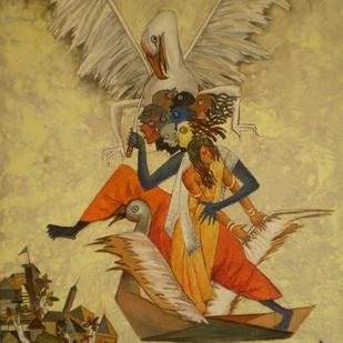 Sita Haran by Debajyoti Sarkar, Expressionism Painting, Acrylic on Canvas, Brown color