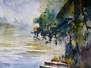 She and the River by Mopasang Valath, Impressionism Painting, Watercolor on Paper, Gray color