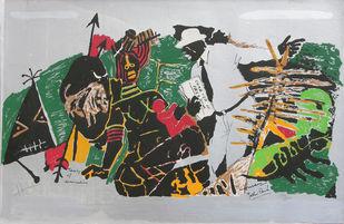 Yeh kaun sa modh hai umar ka - VII by M F Husain, Expressionism Printmaking, Serigraph on Paper, Gray color