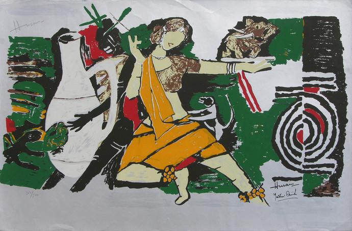Yeh kaun sa modh hai umar ka - VIII by M F Husain, Expressionism Printmaking, Serigraph on Paper, Gray color