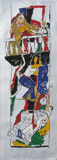 Yeh kaun sa modh hai umar ka - IX by M F Husain, Expressionism Printmaking, Serigraph on Paper, Gray color