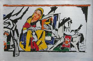 Yeh kaun sa modh hai umar ka - XII by M F Husain, Expressionism, Expressionism Printmaking, Serigraph on Paper, Gray color