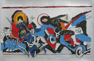 Yeh kaun sa modh hai umar ka - XIV by M F Husain, Expressionism Printmaking, Serigraph on Paper, Gray color