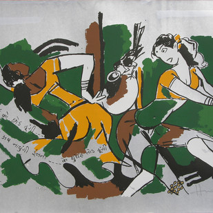 Yeh kaun sa modh hai umar ka - XV by M F Husain, Expressionism Printmaking, Serigraph on Paper, Gray color