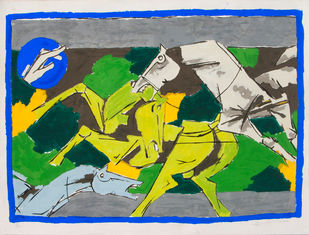 Horse - II by M F Husain, Expressionism Printmaking, Serigraph on Paper, Green color