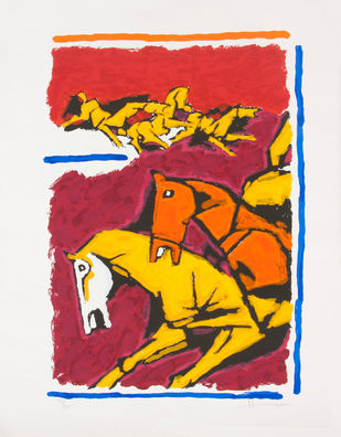 Horse - IV by M F Husain, Expressionism Serigraph, Serigraph on Paper, Gray color