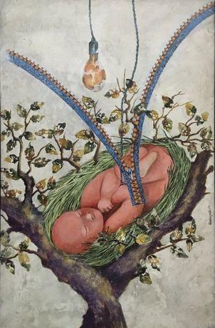 Composition by Debajyoti Sarkar, Fantasy Painting, Acrylic on Canvas, Brown color