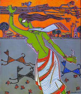 A village Lady Print By Santanu Nandan Dinda