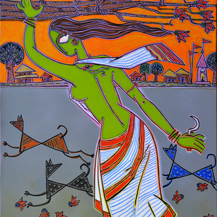A village Lady by Santanu Nandan Dinda, Traditional Painting, Acrylic on Canvas, Brown color