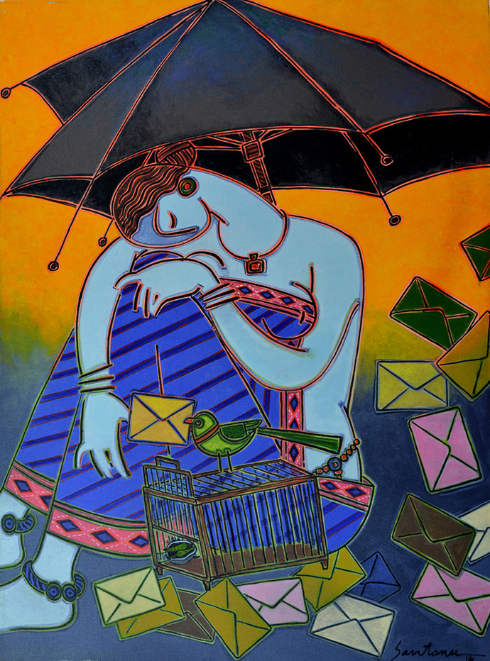 Fortune teller by Santanu Nandan Dinda, Traditional, Traditional Painting, Acrylic on Canvas, Blue color
