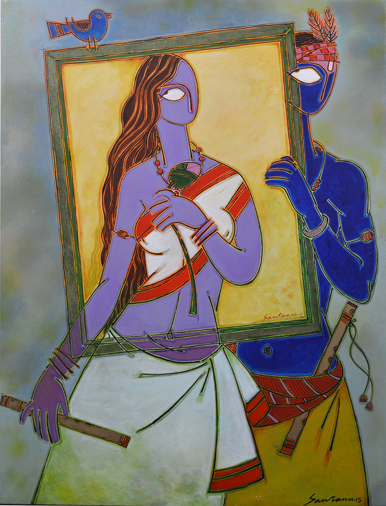 In a frame 1 by Santanu Nandan Dinda, Traditional Painting, Acrylic on Canvas, Brown color