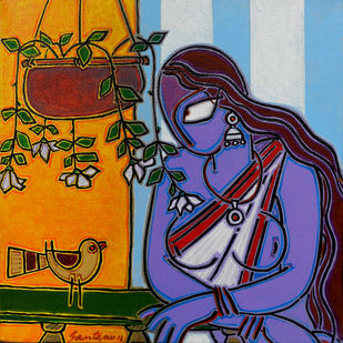 Lady with a bird Digital Print by Santanu Nandan Dinda,Traditional