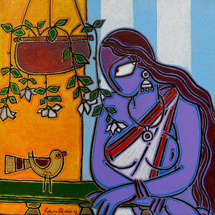 Lady with a bird Digital Print by Santanu Nandan Dinda,Traditional
