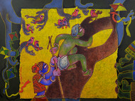 Children at play by Sunita Dinda, Traditional Painting, Acrylic on Canvas, Brown color