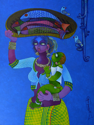 Fish seller by Sunita Dinda, Traditional Painting, Acrylic on Canvas, Blue color