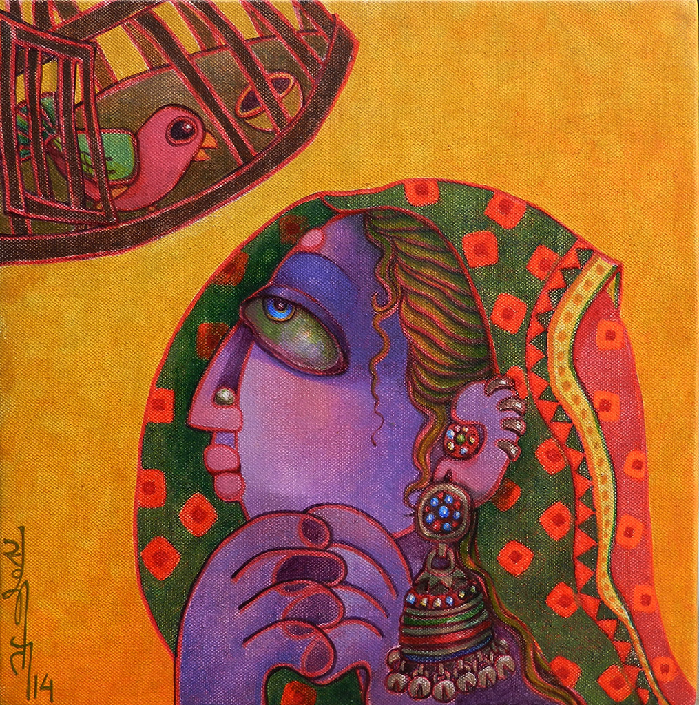 Freedom 1 by Sunita Dinda, Traditional Painting, Acrylic on Canvas, Brown color
