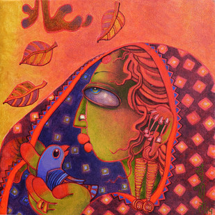 Spring by Sunita Dinda, Traditional Painting, Acrylic on Canvas, Red color
