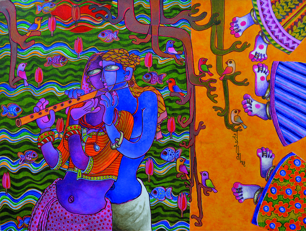Love by Sunita Dinda, Traditional Painting, Acrylic on Canvas, Brown color