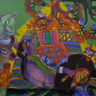 Mother & Child 1 by Sunita Dinda, Traditional Painting, Acrylic on Canvas, Green color