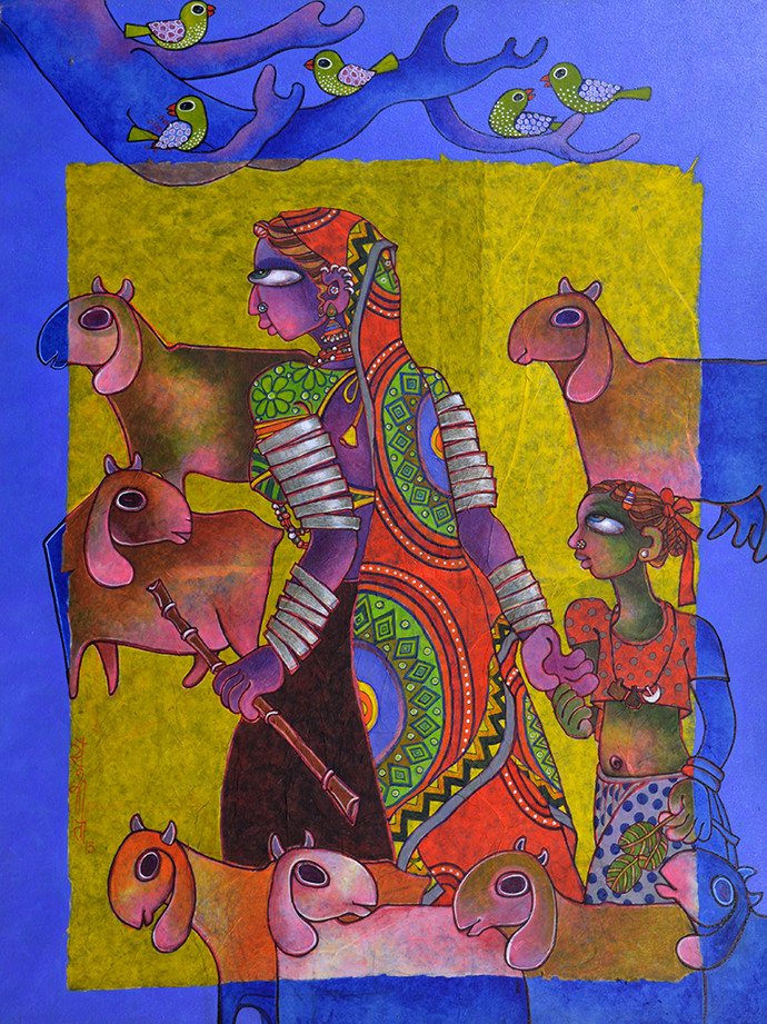 Mother & Child 2 by Sunita Dinda, Traditional Painting, Acrylic on Canvas, Brown color
