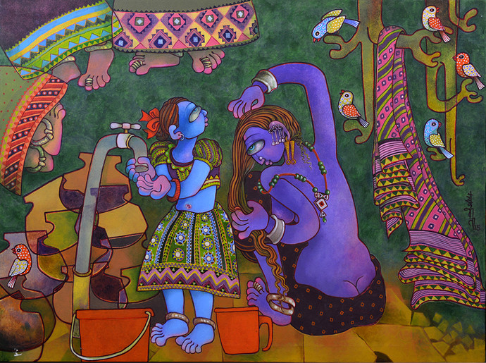 Water to come by Sunita Dinda, Traditional Painting, Acrylic on Canvas, Brown color