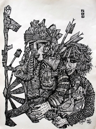 Ram and sita by rajshree, Conceptual Drawing, Ink on Paper, Black color