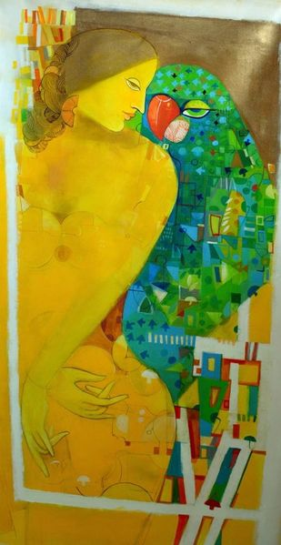 yellow frame Digital Print by Madan Lal,Fantasy