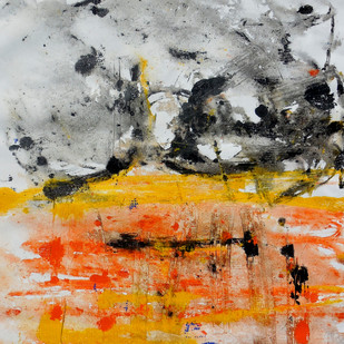 abstract 43 by Santhosh CH, Abstract Painting, Acrylic on Canvas, Orange color