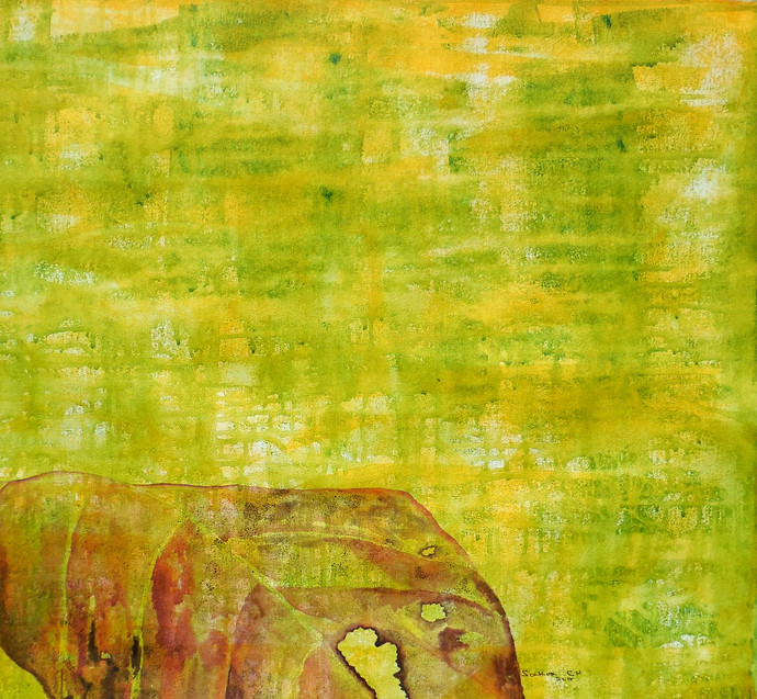 Abstract 46 by Santhosh CH, Abstract Painting, Acrylic on Canvas, Yellow color