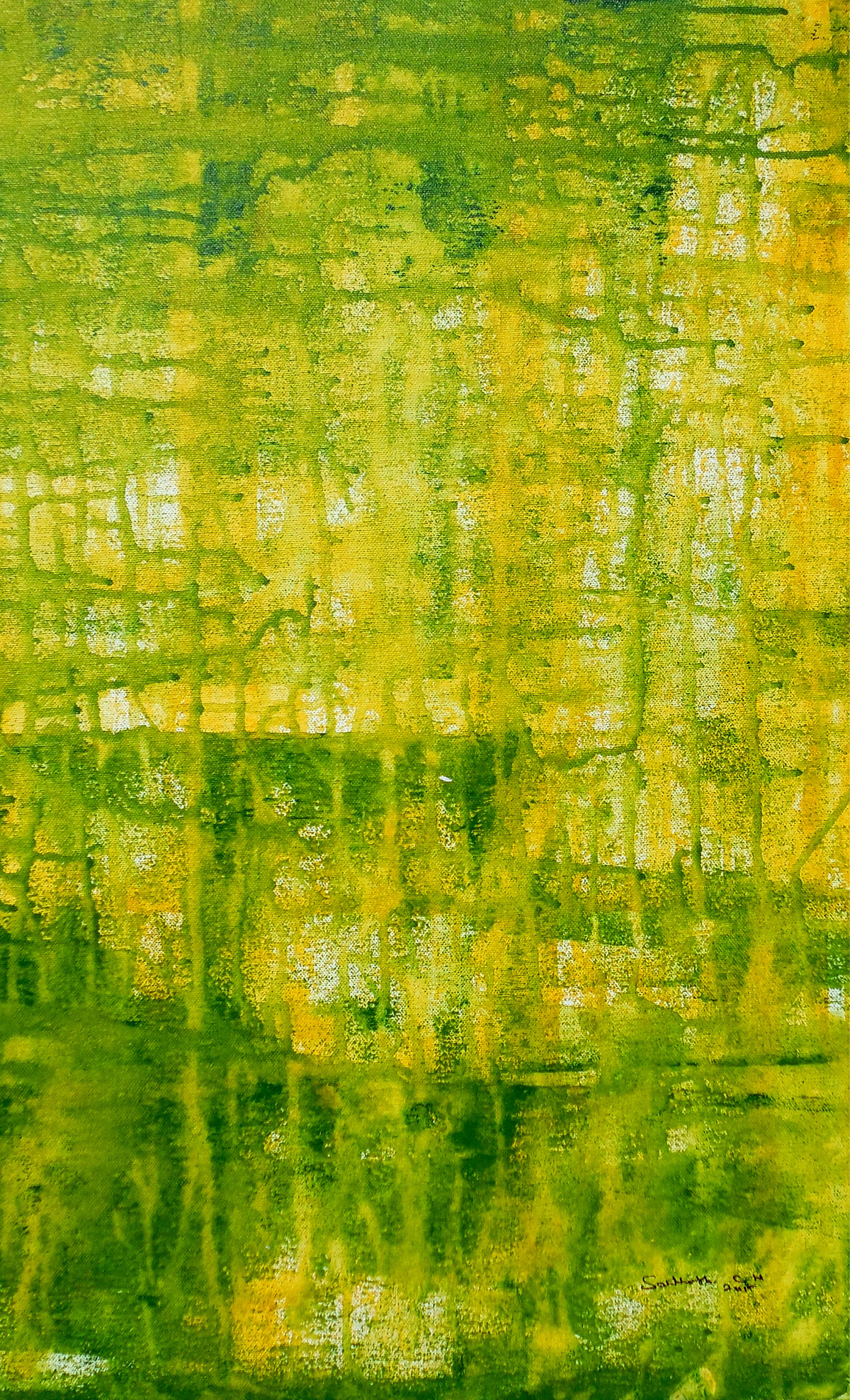 abstract 38 by Santhosh CH, Abstract Painting, Acrylic on Canvas, Green color