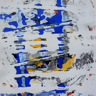 abstract 35 by Santhosh CH, Abstract Painting, Acrylic on Canvas, Blue color